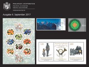 3rd Stamp Issue 2017 of Philately Liechtenstein on 4 September 2017