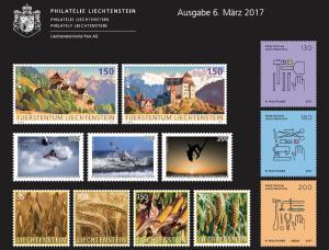1st Stamp issue of 2017 of Philately Liechtenstein on 6 March 2017