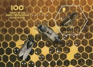 Miniature sheet showing the Queen, Worker and Drone bees