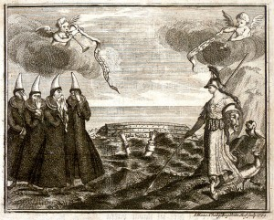The death of Eggert Ólafsson. Copper engraving by I. Haas, published in 1769, the year after Eggert's death.