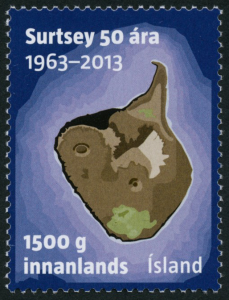 Stamp 591A - the stamp was released in 2013 to celebrate 50 years from the Surtsey eruption.